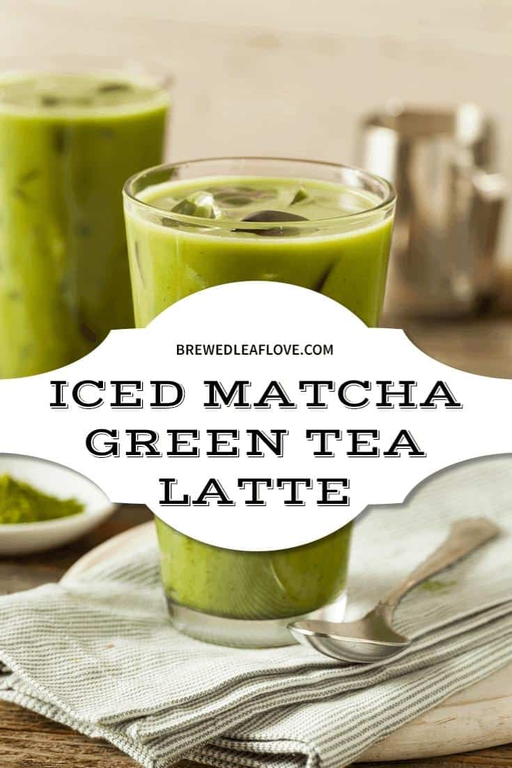 starbucks iced matcha green tea latte in a large class with a spoon and napkin.