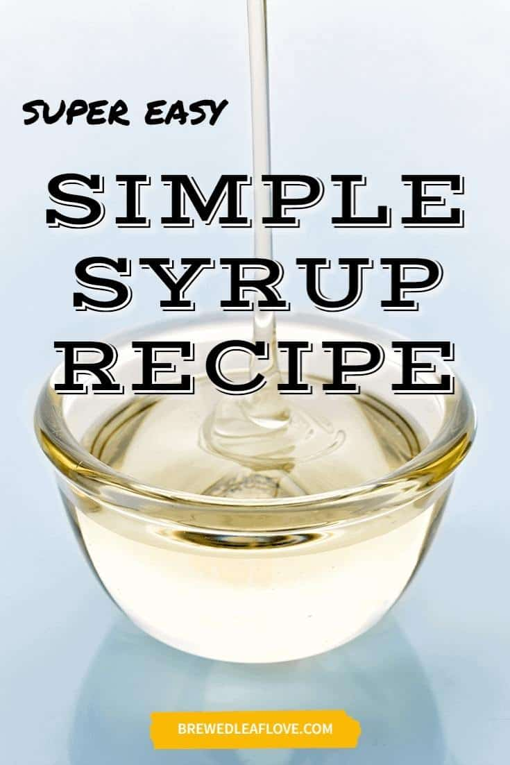 A pyrex bowl with simple syrup recipe.