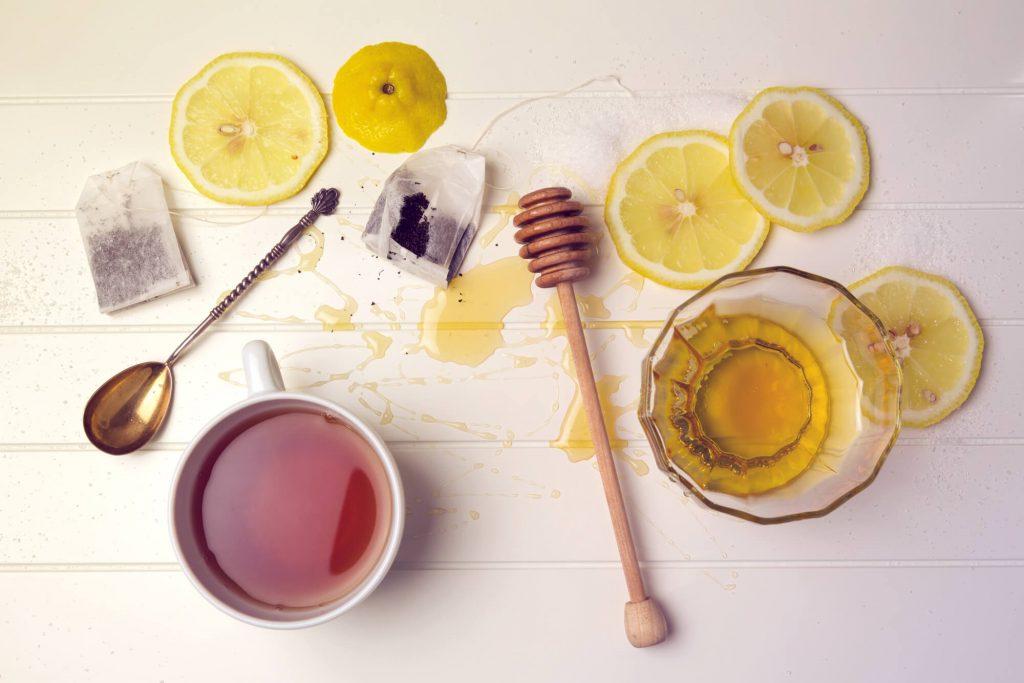 Ingredients for Starbucks medicine ball tea drink.