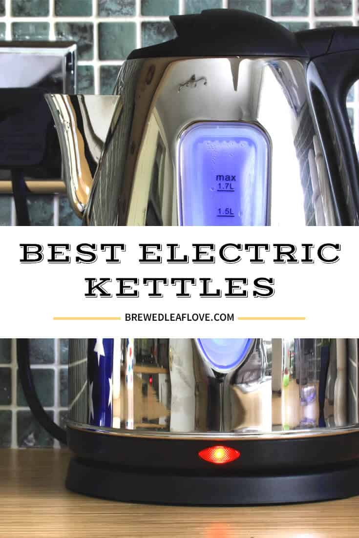 best electric kettle graphic overlay on an electric kettle on countertop