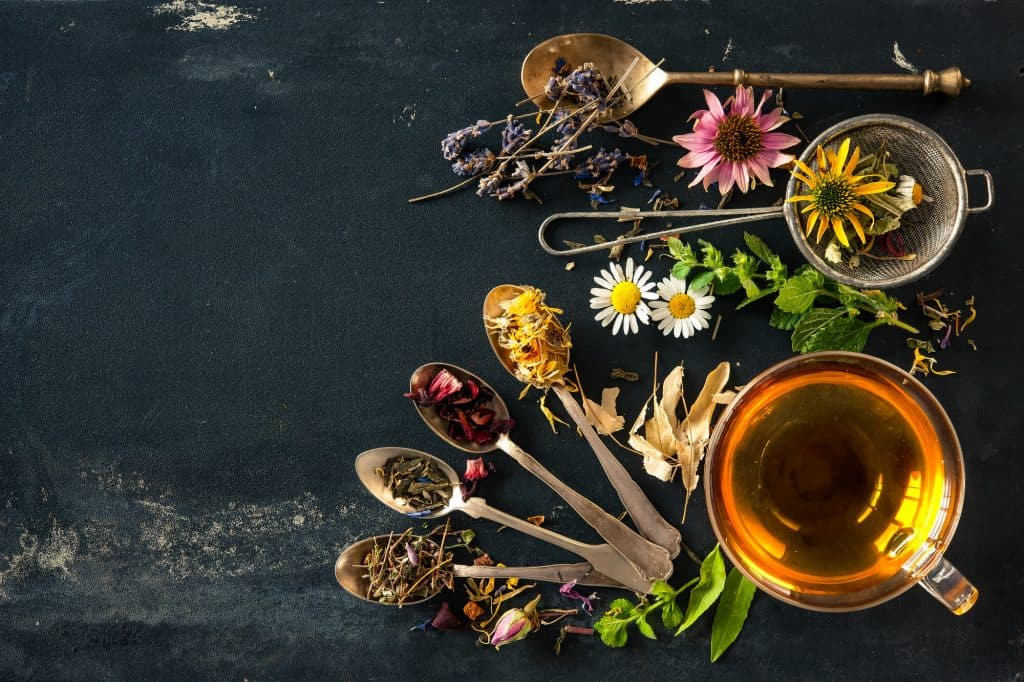 Herbal tea garden herbs, measuring spoons and a cup of tea