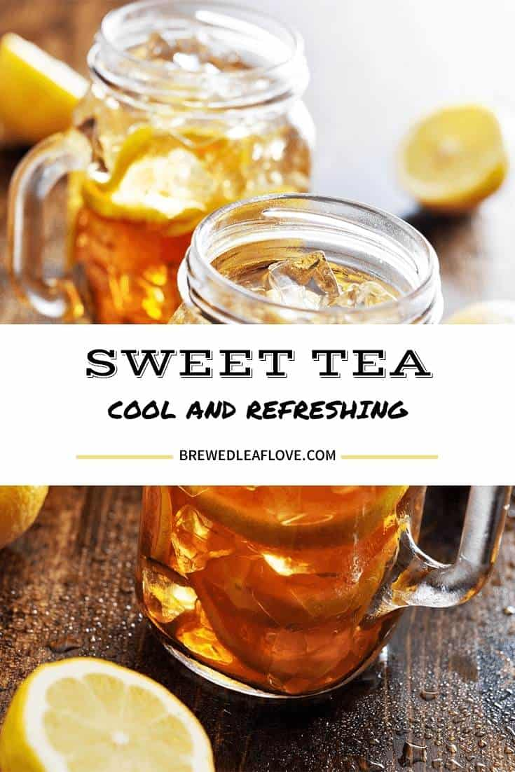 mason jars filled with the best sweet tea recipe along with lemon slices