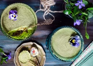 matcha dessert recipes on a table with pansies