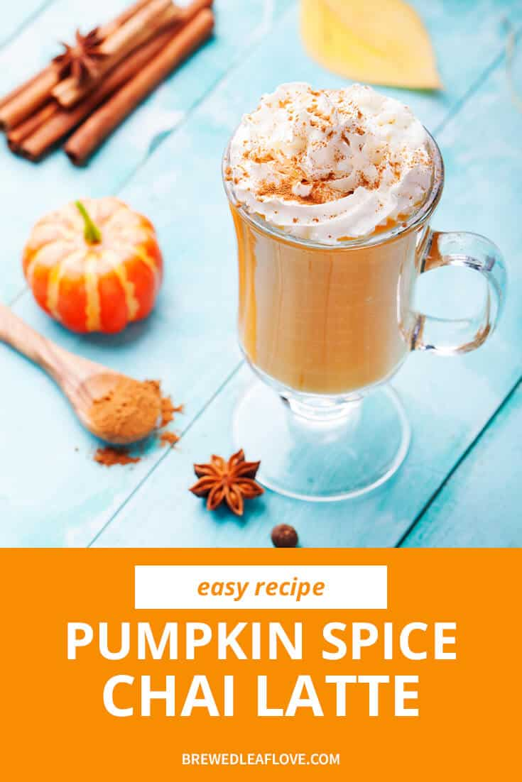 pumpkin spice chai latte graphic with a pumpkin spice latte on a blue background.