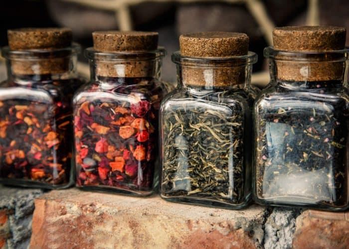 tea storage jars in a row