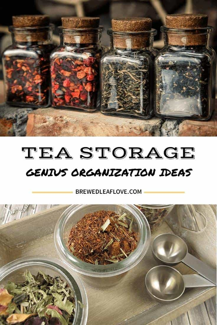 Tea storage glass jars with cork lids and loose tea with measuring spoons.