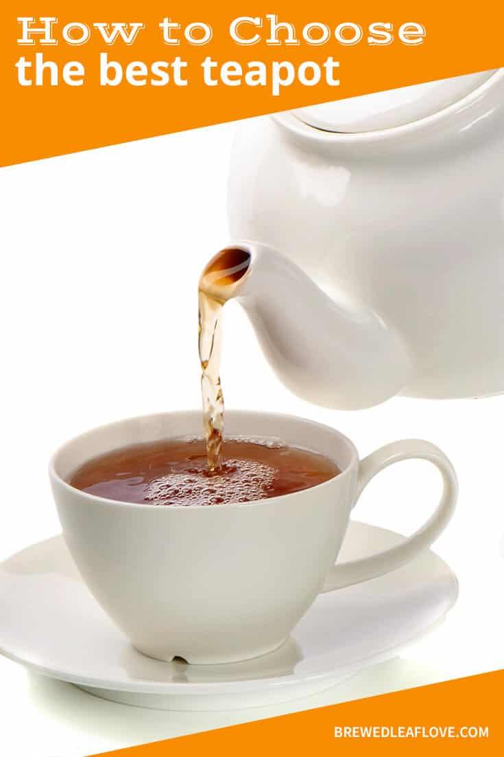best teapot:  white ceramic teapot pouring tea into a white teacup