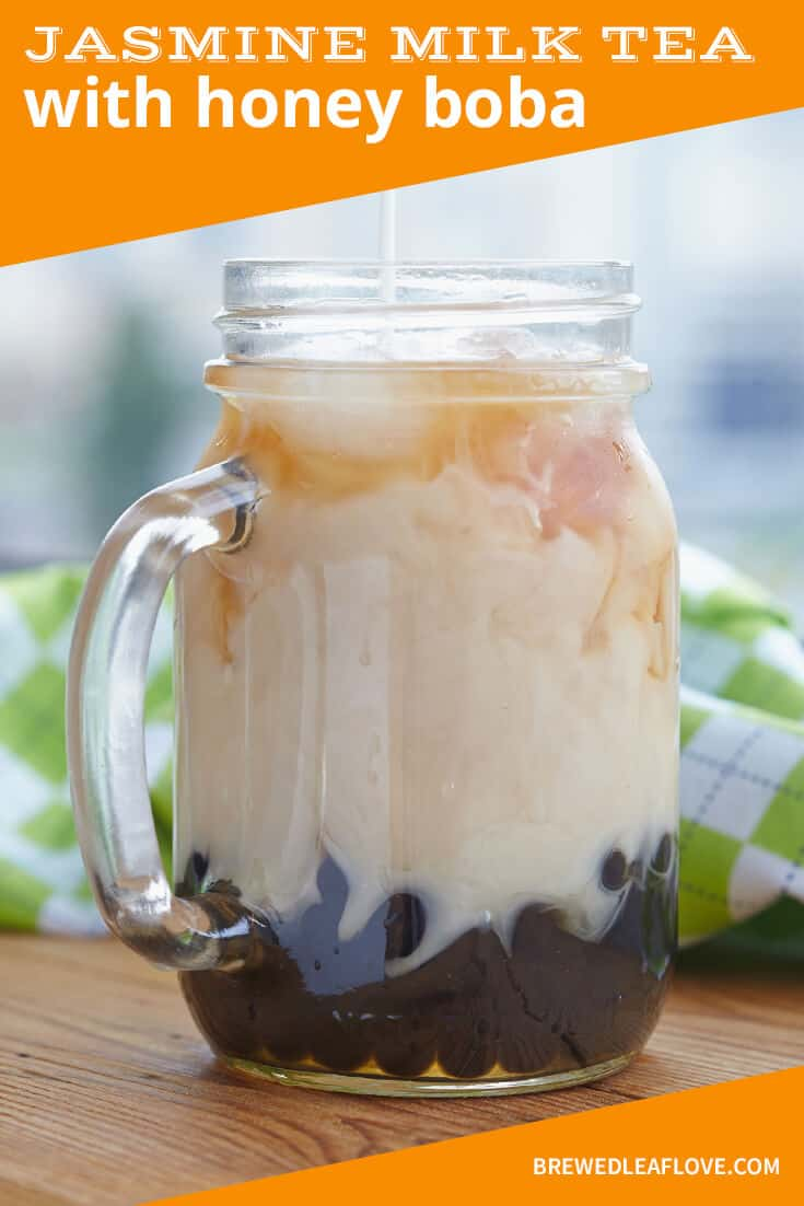 jasmine milk tea with honey boba graphic showing a mason jar mug with bubble tea.