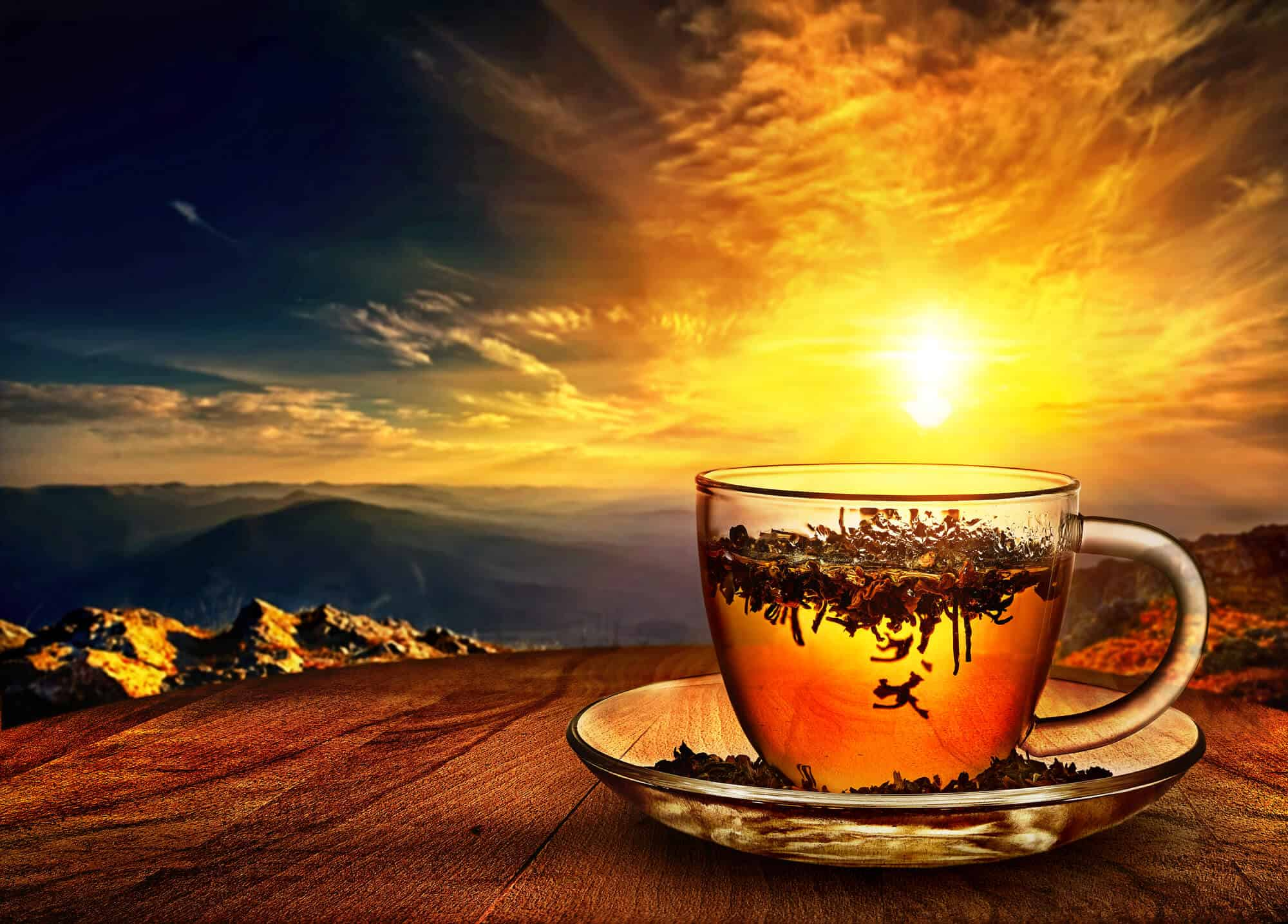 Tea cup on a table with the sun setting. how is tea made?