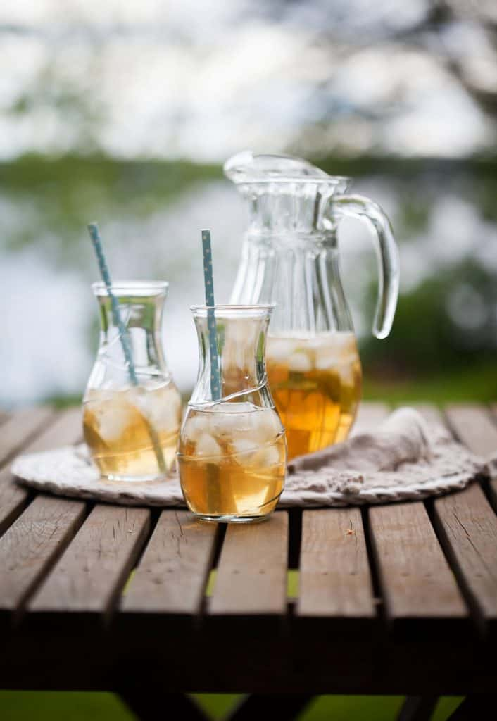Pitchers of iced tea and sweet tea