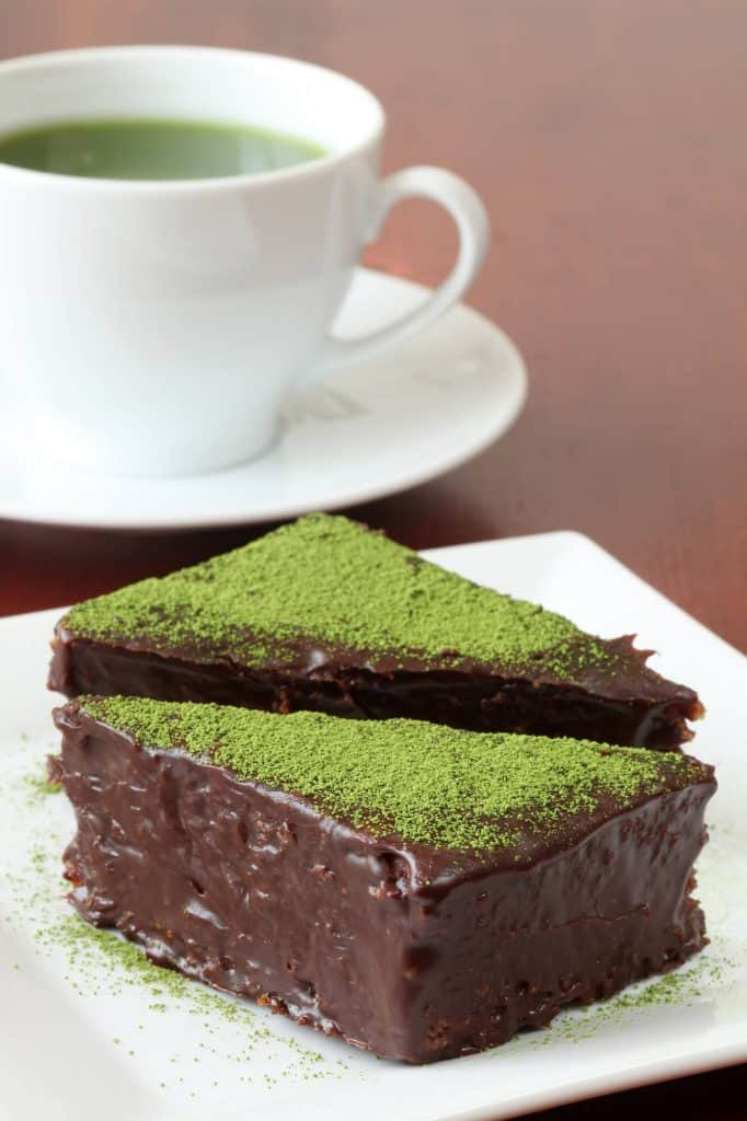 chocolate cake with matcha powder sprinkles