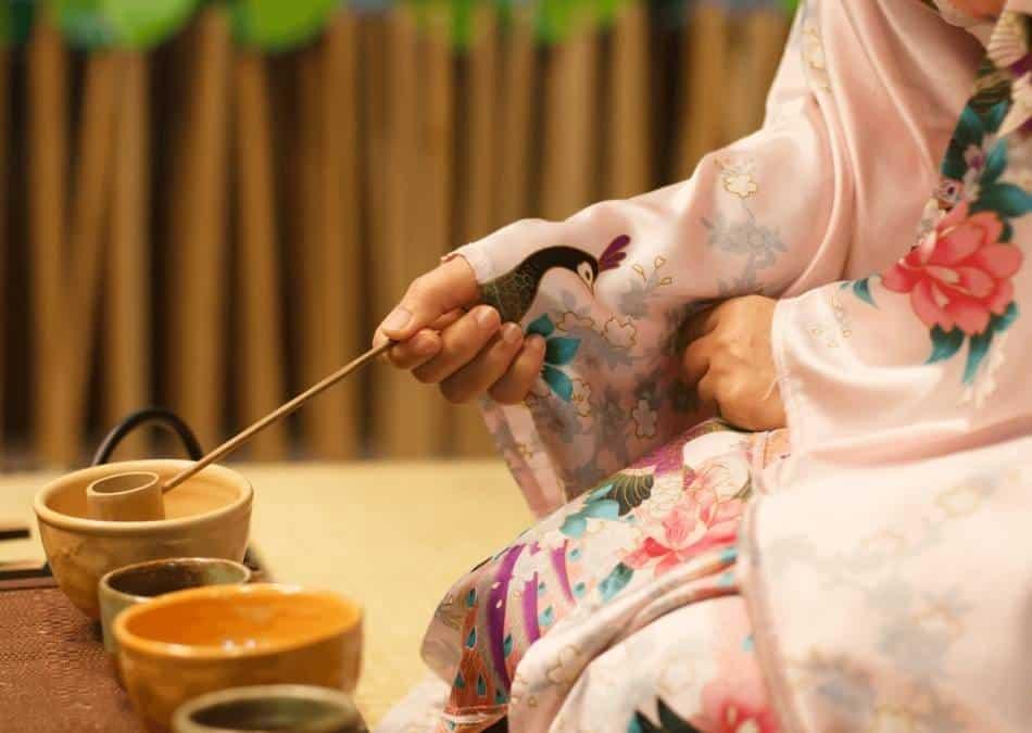 japanese tea ceremony being prepared