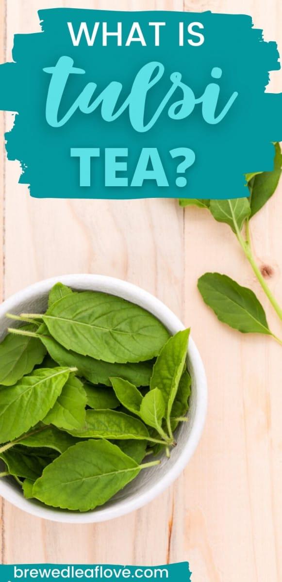 tulsi tea on a wood background
