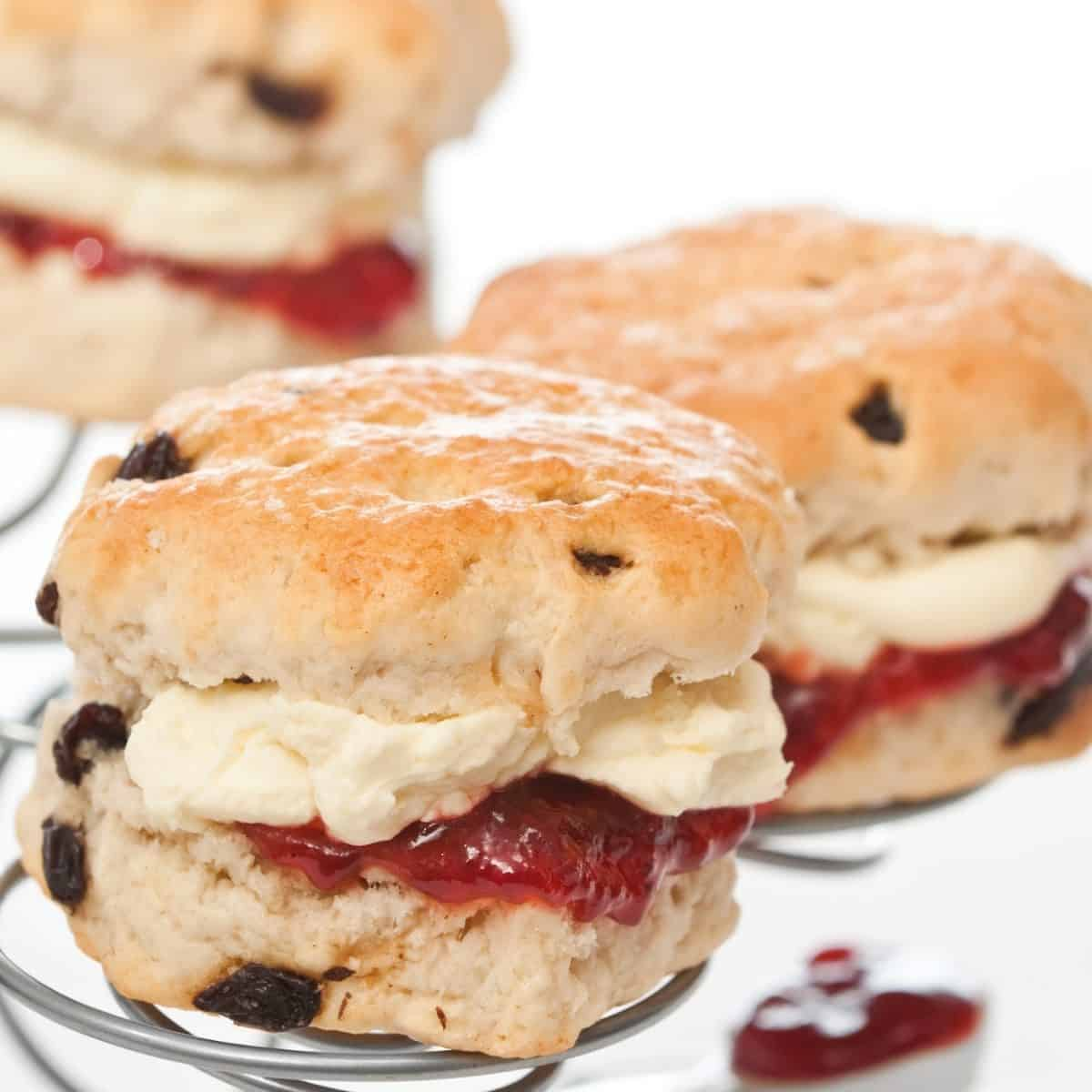 clotted cream and jam on a scone