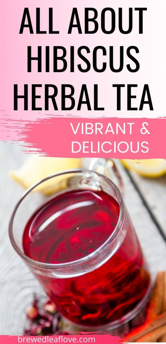 hibiscus tea graphic with glass of vibrant red tea
