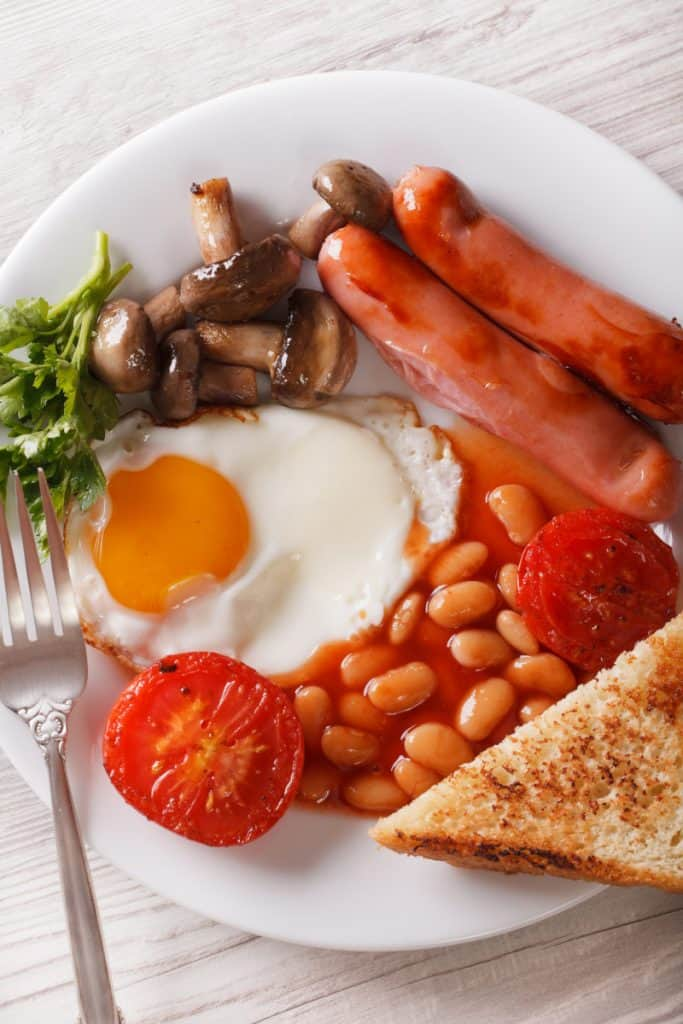 traditional English breakfast with tea