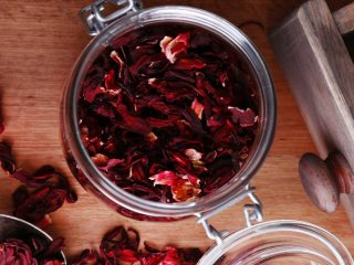 hibiscus tea in glass jar