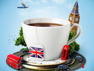 English tea cup with Big Ben, red telephone booth and great Britain flag