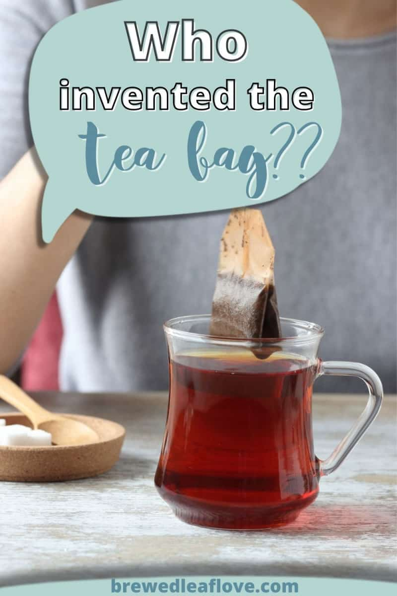 who invented the tea bag  graphic over a photo of a glass teacup with a tea bag being removed.