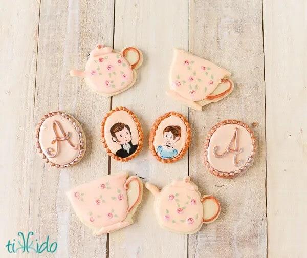 Jane Austen sugar cookies tea party display