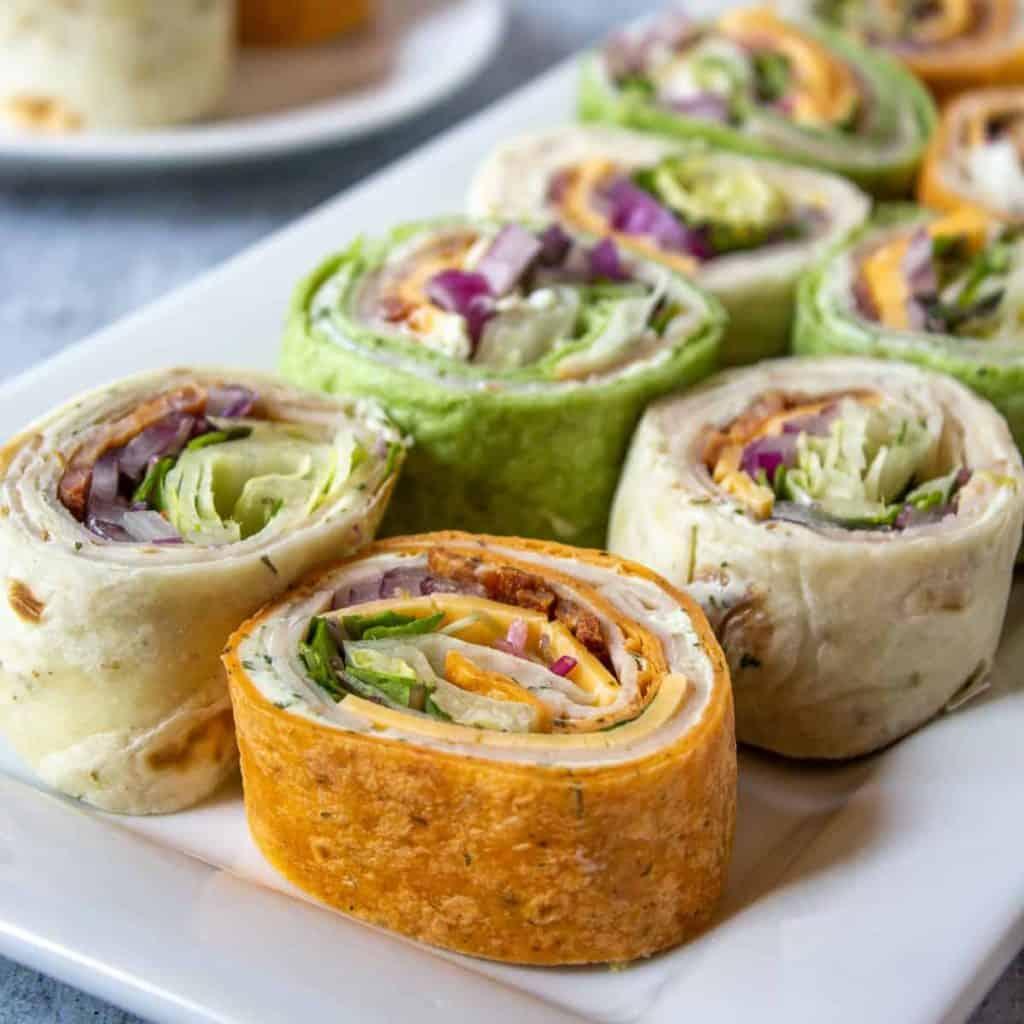 savory tea party food turkey wraps