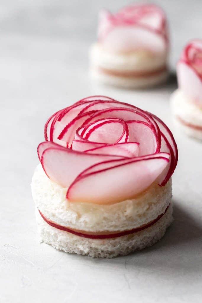 radish rose tea party finger sandwich